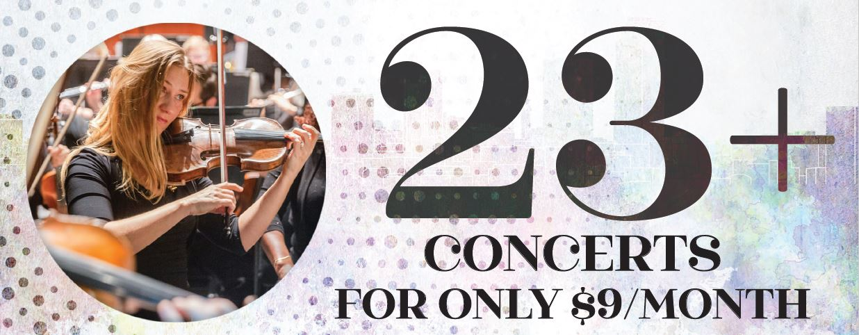 23 + Concerts for only $9/month | Seated woman playing the violin